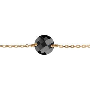 Bracelet plaqué or pierre noire ronde 16+2cm - Vue 1