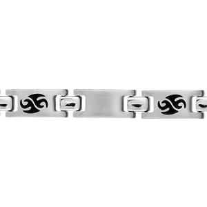 Bracelet pour enfant en acier alternance de maillons lisses et maillons ornés d\'un motif tribal en résine noire - longueur 16cm - Vue 1
