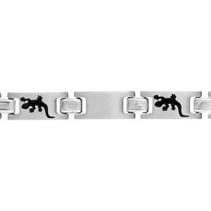 Bracelet pour enfant en acier alternance de maillons lisses et maillons ornés d\'une salamandre en résine noire - longueur 16cm - Vue 1