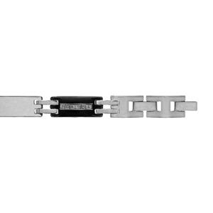 Bracelet pour enfant en acier et PVD noir alternance de maillons lisses et maillons noirs avec gravure méandres grecs intercalés de 2 barettes grises - largeur 7mm et longueur 16cm + 1cm réglable par double fermoir - Vue 1