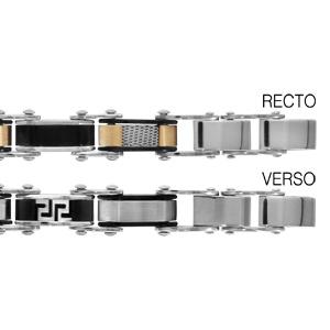 Bracelet réversible en acier 1 côté alternance de maillons en PVD noir et maillons avec PVD jaune, quadrillage et l\'autre côté alternance de maillons lisses et maillons en PVD noir avec méandre grec gravé - longueur 20cm réglable - Vue 1