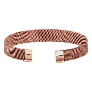 Bracelet rigide en acier et PVD rose en petites mailles et ouvert