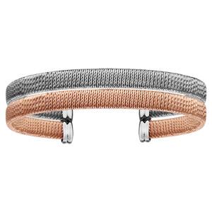 002898bcee4 ... Bracelet rigide en acier 2 rangs 1 alternance de fils lisses et  torsadés verticaux gris et