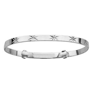 Bracelet rigide pour enfant en argent coulissant avec étoiles diamantées - Vue 1