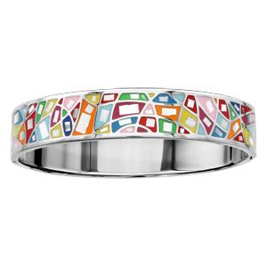 Bracelet Stella Mia articulé en acier et nacre blanche véritable avec formes géométriques multicolores - Vue 1