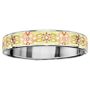 Bracelet Stella Mia articulé en acier et nacre blanche véritable avec motif fresque fleurie jaune et orange - taille 62mm X 56mm - Vue 1