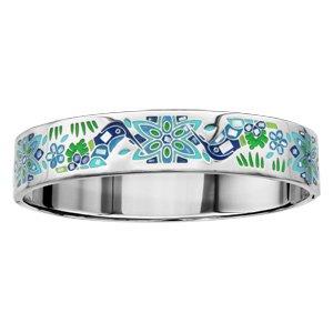 Bracelet Stella Mia articulé en acier et nacre blanche véritable avec motifs colibris bleu vert - taille 62mm X 56mm - Vue 1