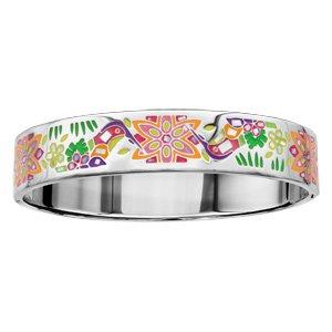 Bracelet Stella Mia articulé en acier et nacre blanche véritable avec motifs colibris jaunes et violets - taille 62mm X 56mm - Vue 1