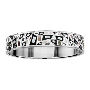 Bracelet Stella Mia articulé en acier et nacre blanche véritable avec motifs géométriques et noir et blanc - taille 62mm X 56mm - Vue 1