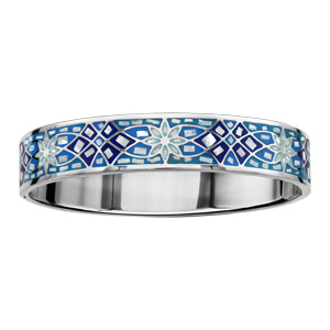 Bracelet Stella Mia articulé en acier et nacre blanche véritable motifs fleurs et dégradé de bleu - taille 62mm X 56mm - Vue 1