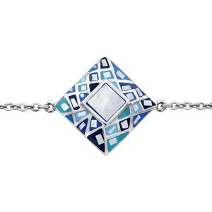 Bracelet Stella Mia en acier chaîne avec au milieu carré avec motifs en dégradés de bleu et nacre blanche véritable - longueur 16cm + 3cm de rallonge - Vue 1