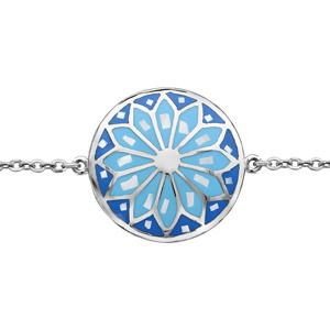 Bracelet Stella Mia en acier chaîne avec au milieu rond avec motif fleur et dégradé de bleu et nacre blanche véritable- longueur 16cm+ 3cm de rallonge