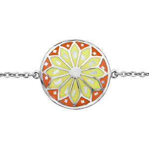 Bracelet Stella Mia en acier chaîne avec au milieu rond avec motif fleur et dégradé de jaune et orange et nacre blanche véritable - longueur 16cm + 3cm de rallonge - Vue 1