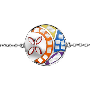Bracelet Stella Mia en acier chaîne avec au milieu rond avec motif fleur et multicolore et nacre blanche véritable 16cm + 3cm de rallonge - Vue 1