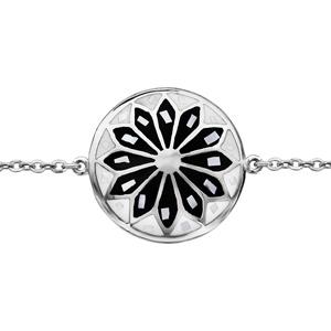 Bracelet Stella Mia en acier chaîne avec au milieu rond avec motif fleur et noir et blanc et nacre blanche véritable - 16cm + 3cm de rallonge - Vue 1