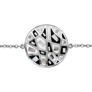 Bracelet Stella Mia en acier chaîne avec au milieu rond avec motifs géométriques et noir et blanc et nacre blanche véritable - longueur 16cm + 3cm de rallonge - Vue 1
