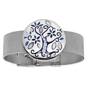 Bracelet Stella Mia maille milanaise avec arbre de vie bleu et nacre 19,5cm réglable - Vue 1