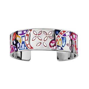 Bracelet Stella Mia rigide en acier motif fleur et multicolore avec nacre blanche véritable - diamètre 59mm - Vue 1