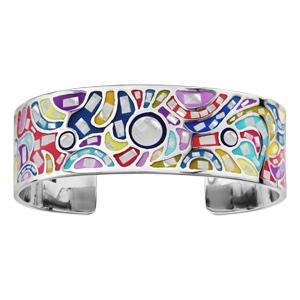 Bracelet Stella Mia rigide en acier motifs vagues et couleurs pastel avec nacre blanche véritable - diamètre 59mm - Vue 1