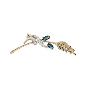 Broche en plaqué or branche courbée avec épi de blé et rubant enroulé orné d\'oxydes blancs et 2 oxydes bleus foncés - Vue 1