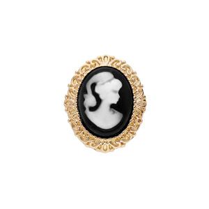 Broche en plaqué or Camée fond noir 30x25mm - Vue 1