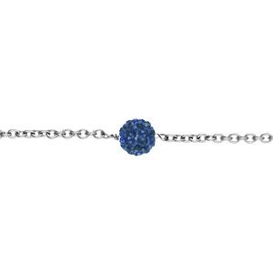 Chaîne cheville acier boule résine et strass bleu royal boule 8mm 23+4cm - Vue 1