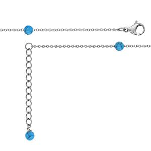 Chaîne de cheville en acier ornée de 6 boules en turquoises synthétique - longueur 23cm + 2cm de rallonge - Vue 1