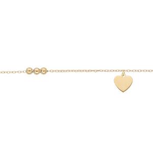 Chaîne de cheville en argent et dorure jaune avec pampille coeur et infini 23+3cm - Vue 1