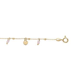 Chaîne de cheville en argent et dorure jaune avec pampilles coeurs et étoiles boules roses 23+3cm - Vue 1