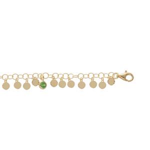 Chaîne de cheville en argent et dorure jaune avec pampilles soleil et pierres multi couleurs 23+3cm - Vue 1