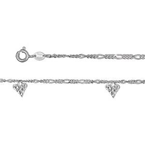 Chaîne de cheville en argent mailles 1+3 avec 3 pampilles coeurs martelés - longueur 23cm + 2cm de rallonge - Vue 1