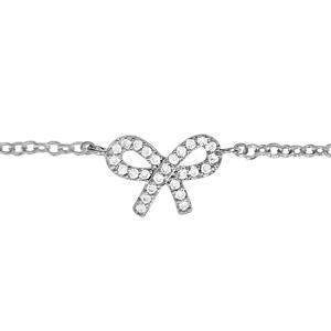Chaîne de cheville en argent rhodié avec noeud féminin orné d\'oxydes blancs sertis - longueur 23cm + 2cm de rallonge - Vue 1