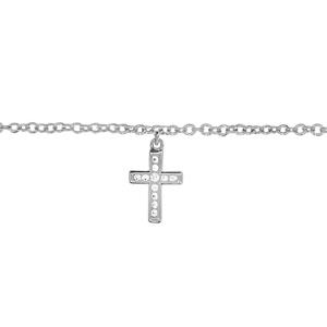 Chaîne de cheville en argent rhodié avec pampille croix chrétienne ornée d\'oxydes blancs sertis - longueur 23cm + 2cm de rallonge - Vue 1