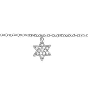 Chaîne de cheville en argent rhodié avec pampille étoile pavée d\'oxydes blancs sertis - longueur 23cm + 2cm de rallonge - Vue 1