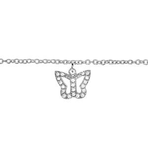 Chaîne de cheville en argent rhodié avec pampille papillon ajouré orné d\'oxydes blancs sertis - longueur 23cm + 2cm de rallonge - Vue 1