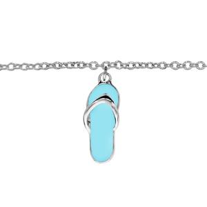 Chaîne de cheville en argent rhodié avec 1 pampille tong en résine bleue - longueur 23cm + 2cm de rallonge - Vue 1