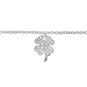 Chaîne de cheville en argent rhodié avec pampille trèfle à 4 feuilles pavé d\'oxydes blancs sertis - longueur 23cm + 2cm de rallonge - Vue 1
