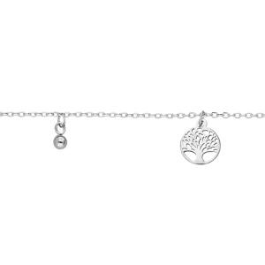 Chaîne de cheville en argent rhodié avec pampilles arbre de vie et boules 23+3cm - Vue 1