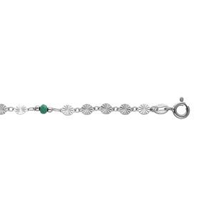 Chaîne de cheville en argent rhodié avec pastilles diamantées et pierres vertes facettées 23+2cm - Vue 1