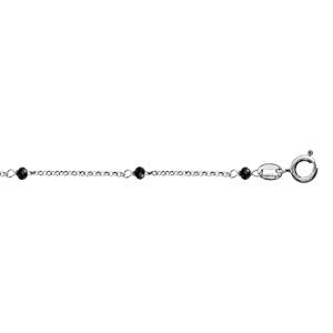 Chaîne de cheville en argent rhodié boules perles de verre facettées noires 23cm + 3cm de rallonge - Vue 1