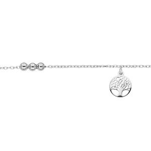 Chaîne de cheville en argent rhodié chaîne avec pampille arbre de vie et boules 23+3cm - Vue 1