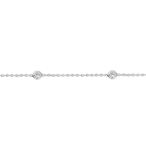 Chaîne de cheville en argent rhodié 4 oxydes ronds blancs sertis clos 23cm + 3cm de rallonge - Vue 1