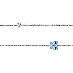 Chaîne de cheville en argent rhodié papillon bleu et 1 oxyde ronds blancs sertis clos 23cm + 3cm de rallonge - Vue 1