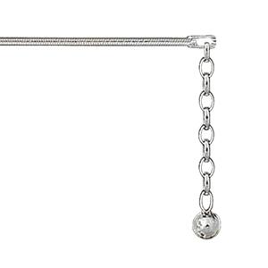 Chaîne de cheville en argent tube avec pampille boule lisse au bout - longueur 22cm +3cm de rallonge - Vue 1