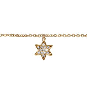 Chaîne de cheville en plaqué or avec pampille étoile pavée d\'oxydes blancs sertis - longueur 23cm + 2cm de rallonge - Vue 1