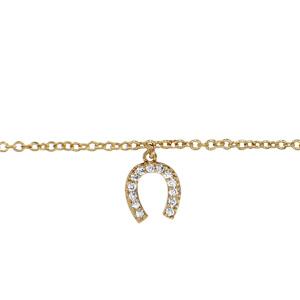 Chaîne de cheville en plaqué or avec pampille fer à cheval orné d\'oxydes blancs sertis - longueur 23cm + 2cm de rallonge - Vue 1