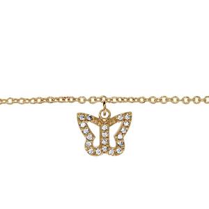Chaîne de cheville en plaqué or avec pampille papillon ajouré orné d\'oxydes blancs sertis - longueur 23cm + 2cm de rallonge - Vue 1
