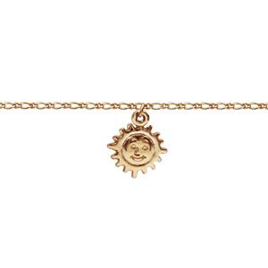 Chaîne de cheville en plaqué or avec pampille soleil - longueur 22cm +3cm - Vue 1