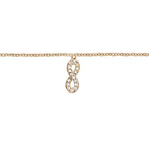 Chaîne de cheville en plaqué or avec pampille symbole infini orné d\'oxydes blancs sertis - longueur 23cm + 2cm de rallonge - Vue 1
