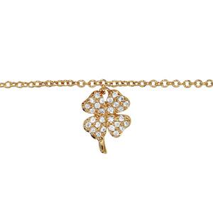 Chaîne de cheville en plaqué or avec pampille trèfle à 4 feuilles pavé d\'oxydes blancs sertis - longueur 23cm + 2cm de rallonge - Vue 1